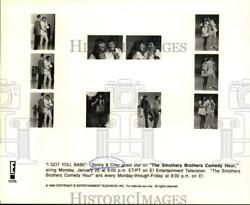 1992 Press Photo Sonny & Cher guest star on The Smothers Brothers Comedy Hour.