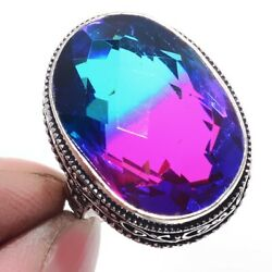 Bi-Color Tourmaline 925 Sterling Silver Jewelry Ring Size-9 9085