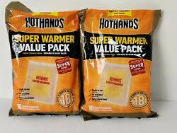 ( Lot Of 2) 10-Count Pack HotHands Large -18 Hours Heat Body & Hand Foot Warmer