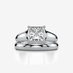 SOLITAIRE BAND SET DIAMOND RING 18K WHITE GOLD 4 PRONG ENGAGEMENT 1.58 CARATS