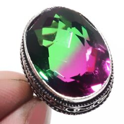 Bi-Color Tourmaline 925 Sterling Silver Jewelry Ring Size-7 8850