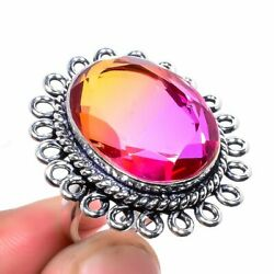 Redefined Bi-Colour Tourmaline Stone 925 Sterling Silver Ring Size 8.5 9188