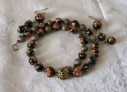 Vtg Peonies Beads Enameled Wood Beaded Choker Necklace Floral Russian Painted