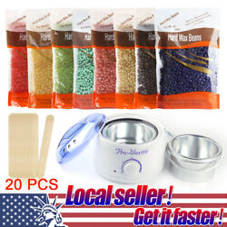 US Wax Kit Warmer Heater Pot Machine + 400g Waxing Beans + 20 Hair Removal Stick