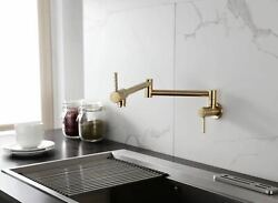Brass Pot Filler Faucet Wall Mounted Kitchen Faucet Single Cold Brushed Gold Tap $82.79