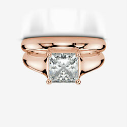 DIAMOND MATCHING BAND SET RING 2 CT 18 KARAT ROSE GOLD RED 4 PRONG ENGAGEMENT
