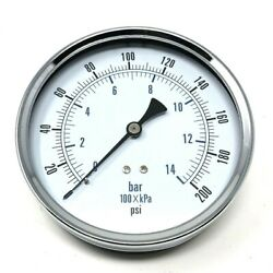 LARGE AIR PRESSURE GAUGE 0-200 PSI WITH 14 INCH MALE THREAD & 4 12'' FACE $29.00