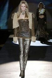 ROBERTO CAVALLI Runway Shearling Sheepskin Corset Leather Fur Dress S Gorgeous!