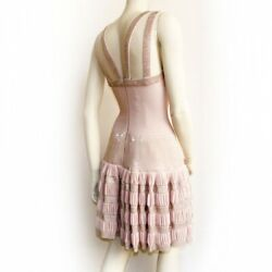 Alaia Vintage Runway Pink Blush Sexy Dress Beaded Sequin Dress 36 $11000