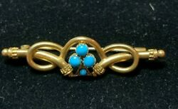 Imperial Russian 56 yellow gold Persian turquoise brooch 14k gold Hallmarked