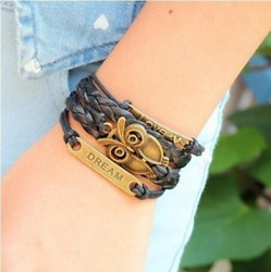 Multi-Layer PU Leather Bangle Bronze Owl Wristband Bracelet Punk Jewelry 1PCS