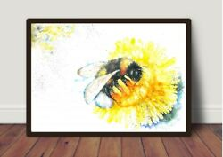 Bee and Dandelionpicture Watercolour Print Card GiftWildlifeAnimalArt