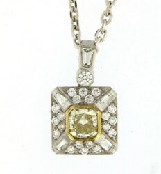 Cushion Cut Yellow Diamond Pendant Necklace in 18K White and Gold (3.00 Ct. tw.)