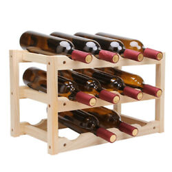 3-Tier Nature Wooden Wine Rack for 12-Bottle Display Free Standing and Countert