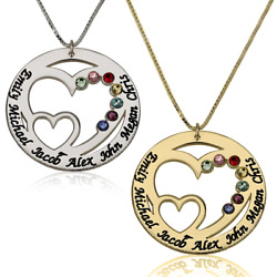 Birthstone Necklace for Mom with Kids Name Personalized Necklace for Mother $43.95