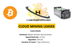 1 Week 14THs Bitcoin Cloud CryptoCurrency Mining Antminer Bitmain S9 BTC BCH $27.67