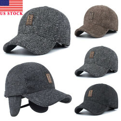 US Men's Winter Warm Baseball Casual Cap Earflap Earmuffs Golf Sport Outdoor Hat
