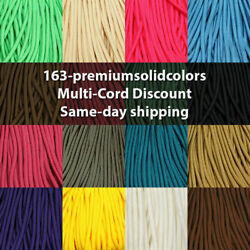 550 Paracord Premium Solid Colors 10 25 50 & 100 Ft USA MADE same day shipping