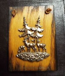 Rustic A amp; F Made in Canada Wood Deer Forrest Picture $3.99