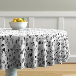 Round Tablecloth Black Forest Sketch Tree Pine Woodland Neutral Cotton Sateen
