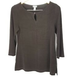 Chicos Travelers Top Size Small Brown 34 Sleeves Peep Hole Neckline