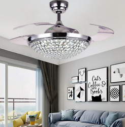 42quot; Ceiling Fan with Lights Modern Crystal Chandelier Lamp w Retractable Blades $149.95