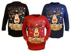 Women Plus Novelty Reindeer Rudolph Dress Christmas Long Sweatshirt Size 10 26 GBP 17.99