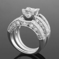 2 MATCHING BANDS SET DIAMOND RING ACCENTED 1.84 CT 14K WHITE GOLD VVS2 WOMENS