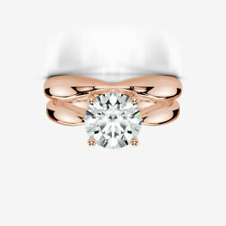 ENGAGEMENT 2 CARATS BAND SET DIAMOND RING WOMENS REAL 14K ROSE GOLD RED MODERN