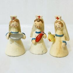 Vintage Wooden Miniature Nurses Hand Painted 3 Pieces Italy 1 12