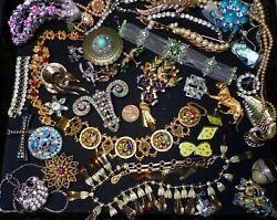 VINTAGE Mixed Lot Of Rhinestone RepairReuse Jewelry Gorgeous Pieces