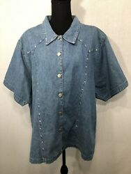 COUNTRY PLUS WEAR Women#x27;s Light Wash Denim Silver Star Studded Top Shirt Size 3X $29.99