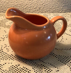 Vintage Coral Orange Novelty Little Mini Miniature Creamer Ball Pitcher Pottery $6.99