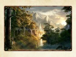 retro signs fantasy landscape mountain nature forest metal tin sign $14.95