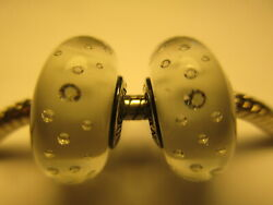 2 Authentic Pandora Silver 925 Ale Glass Bead Charm White Effervescence Clear CZ