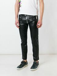 100% auth. Runway DSQUARED CROPPED SKINNY LEATHER MOTORCYCLE PANT