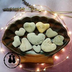 💜💜💜 10 HEART Shaped Beach Rocks Love Stones 100% Natural Formed #1023 💜💜💜