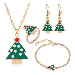 Christmas Tree Pendant Necklace Earring Ring Women Girls Cute Jewelry Gifts