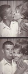 VINTAGE PHOTO BOOTH - STRIP - KISSING YOUNG COUPLE TONGUE OUT BEEHIVE HAIR