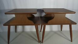 2 Vintage Mid Century Modern 2 Tier End Side Tables Retro 1960's Pair