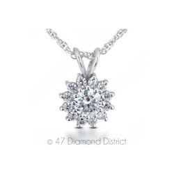 2.06ct tw G SI2 Round Cut Natural Certified Diamonds 18K Gold Pendant + Chain
