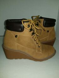 Size 7.5 M Womens Boots Unionbay Wedge Boots Rhapsody Wheat Color Trendy