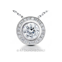 1.78CT Total D SI1 Round Cut Natural Certified Diamonds 14K Gold Halo Pendant