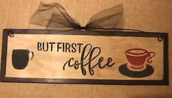 BUT FIRST COFFEE kitchen sign country primitive farmhouse wall wooden decor $8.99