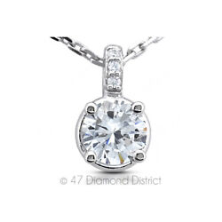 2.64ct tw F-SI2 Round Cut Natural Certified Diamonds 14K Gold Classic Pendant
