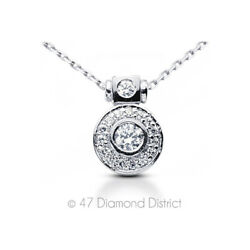 1.64ct tw E-SI1 Round Cut Earth Mined Certified Diamonds 950 PLT. Halo Pendant