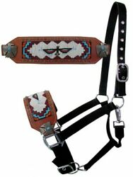 Showman Nylon BRONC HALTER with THUNDERBIRD BEADED Design Noseband Adjustable