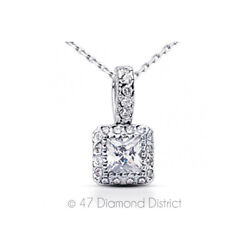 1.53ct tw F SI1 Princess Earth Mined Certified Diamonds 18K Gold Halo Pendant