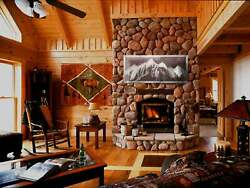 Fireplace Wall Decor Rustic Bedroom Dining Living Room Cabin Metal Mountain Art $389.00