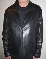 MINT Calvin Klein Mens Black Soft Leather Lined JacketCoat Size LXL RET $325
